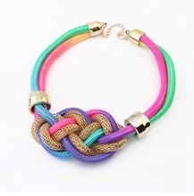 NANBO Fashion bohemian Europe and the United States big punk fluorescent color Woven Leather Chunky Necklace MX0624