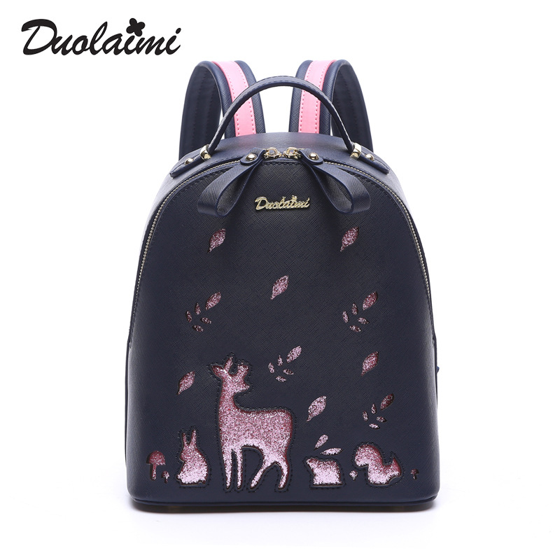 Duolaimi 2018 Famous Women Backpack Designer Lady's Small Vintage Backpacks For Teenage Girls High Quality PU Leather Travel Bag zooler women s backpack eyes sequined designer black cartoon eyes backpacks travel bag cute shell backpacks for teenager girls