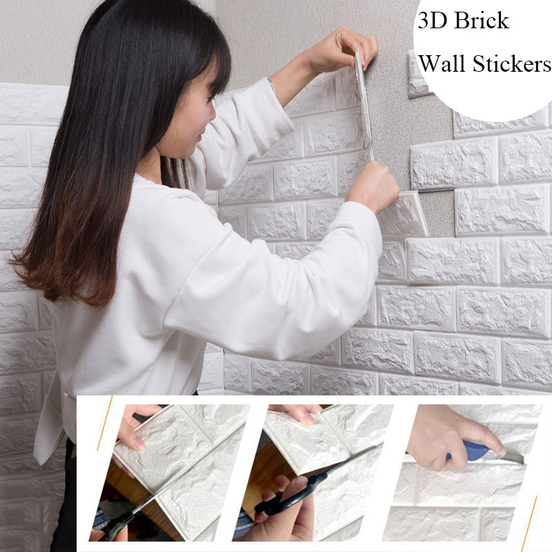 70*77 3D Wall Sticker Self Adhesive Wallpaper DIY Brick Living RoomTV Kids Safty BedroomWarm Home waterproof Decor Wall Sticker(China)