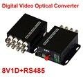 1 par 2 unids/lote 8 canales de vídeo convertidor óptico 8V1D fibra óptica transmisor óptico de vídeo y receptor 8CH + RS485 Data