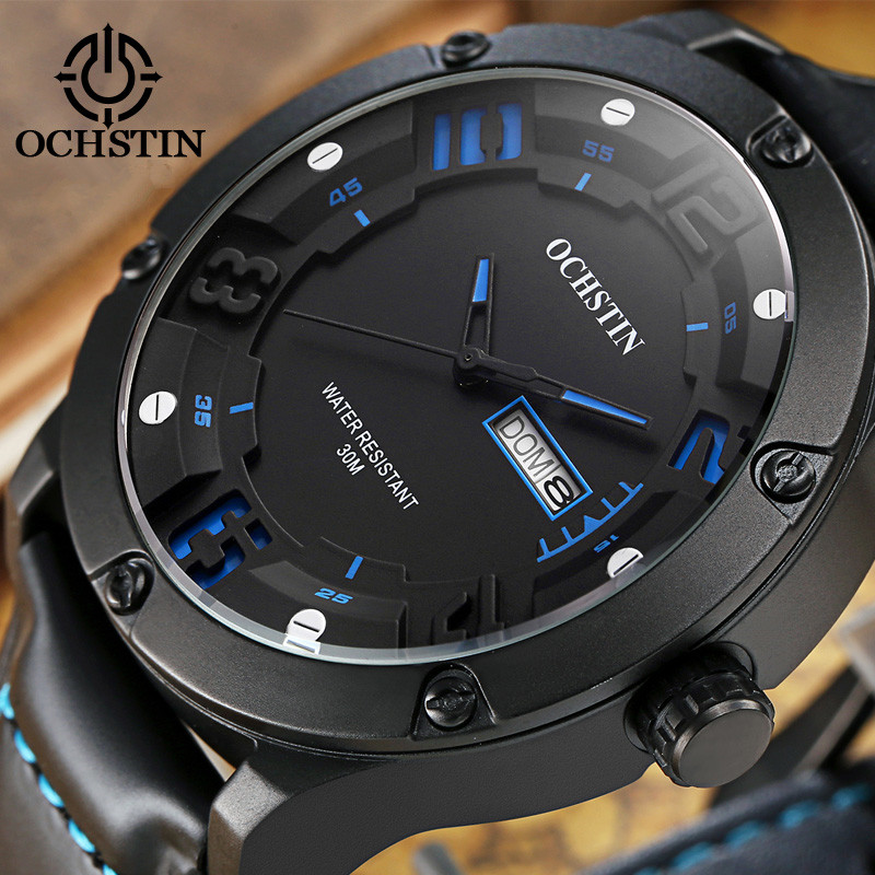 Top Luxury Brand OCHSTIN Men Leather Watches Men's Quartz Clock Man Fashion Waterproof Watch Sport Army Military Wrist Watch 2017 ochstin luxury watch men top brand military quartz wrist male leather sport watches women men s clock fashion wristwatch