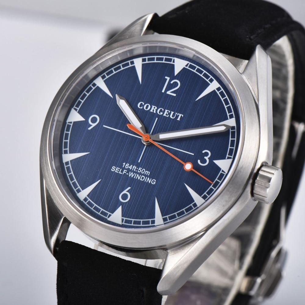 41mm Corgeut Black strap Automatic men Watch luxury Fashion watch men clock Blue Dial Sapphire Glass