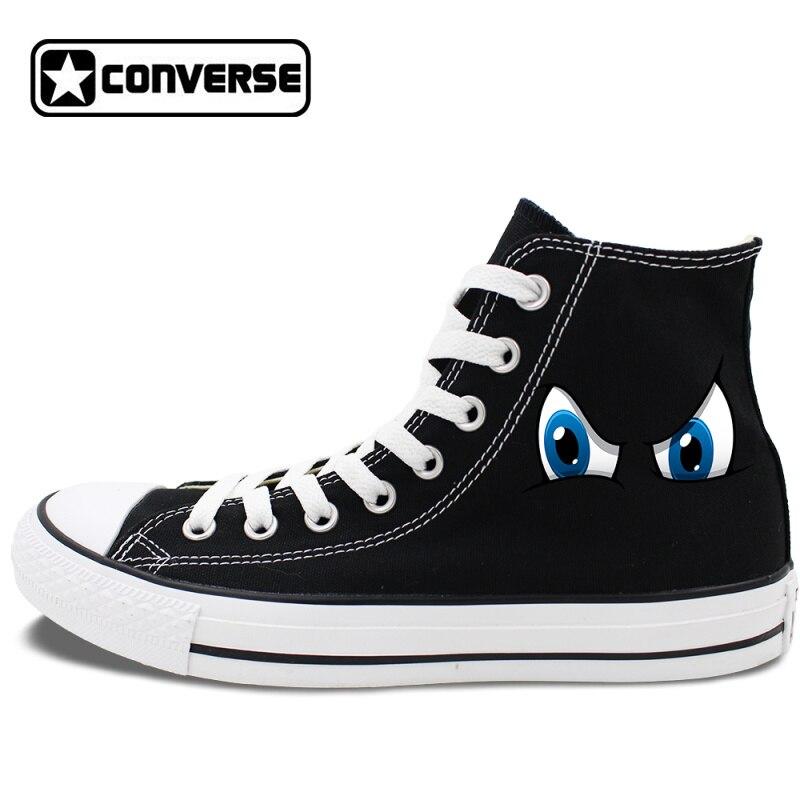 Prix pour Conception originale 2 Couleurs Converse All Star Chaussures de Bande Dessinée Yeux High Top Toile Sneakers Blanc Noir Chuck Taylor