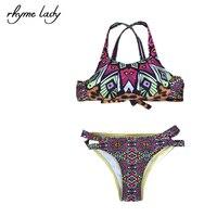 2017 Rhyme Lady Brazilian Style Bikini Set Women Swimwear Cross Back Design Push Up Top Bathing