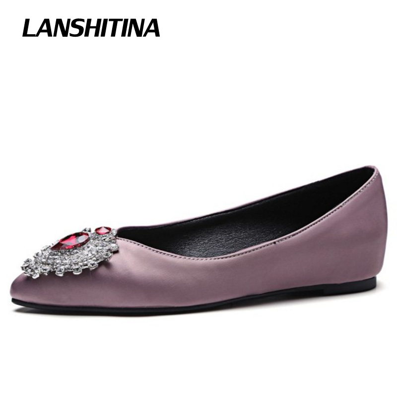 Womans Ballet Flats Shoes Casual Women Crystal Sweet Soft Flats Fashion Pointed Toe Quality Shoes Black Pink Size 32-43 G1167 fashion women shoes woman flats high quality comfortable pointed toe rubber women sweet flats hot sale shoes size 35 40