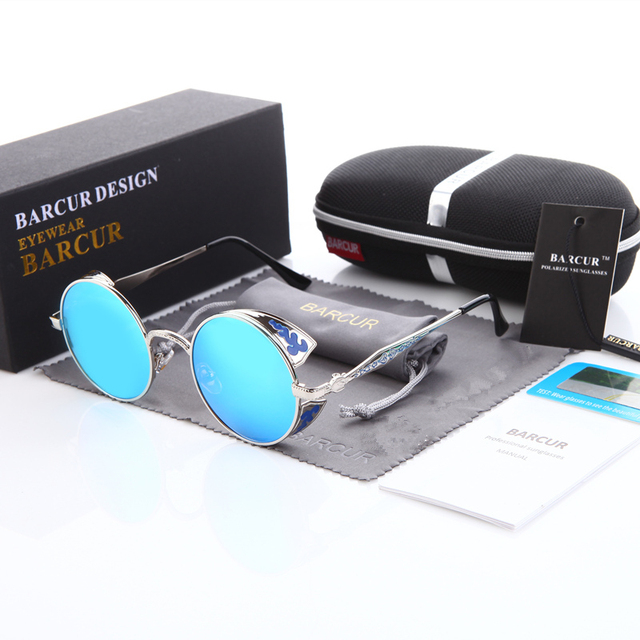 BARCUR Men's Alloy Steampunk Round Sunglasses