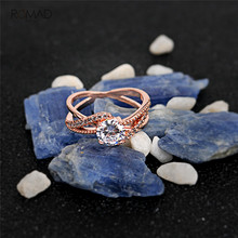 Romad AAA Cut Cubic Zircon Crystal Rings For Women Ladies Rose Gold Sliver Engagement Wedding Ring Jewelry Gifts romad women fashion jewelry multicolor crystal ring with aaa cubic zircon wedding ring