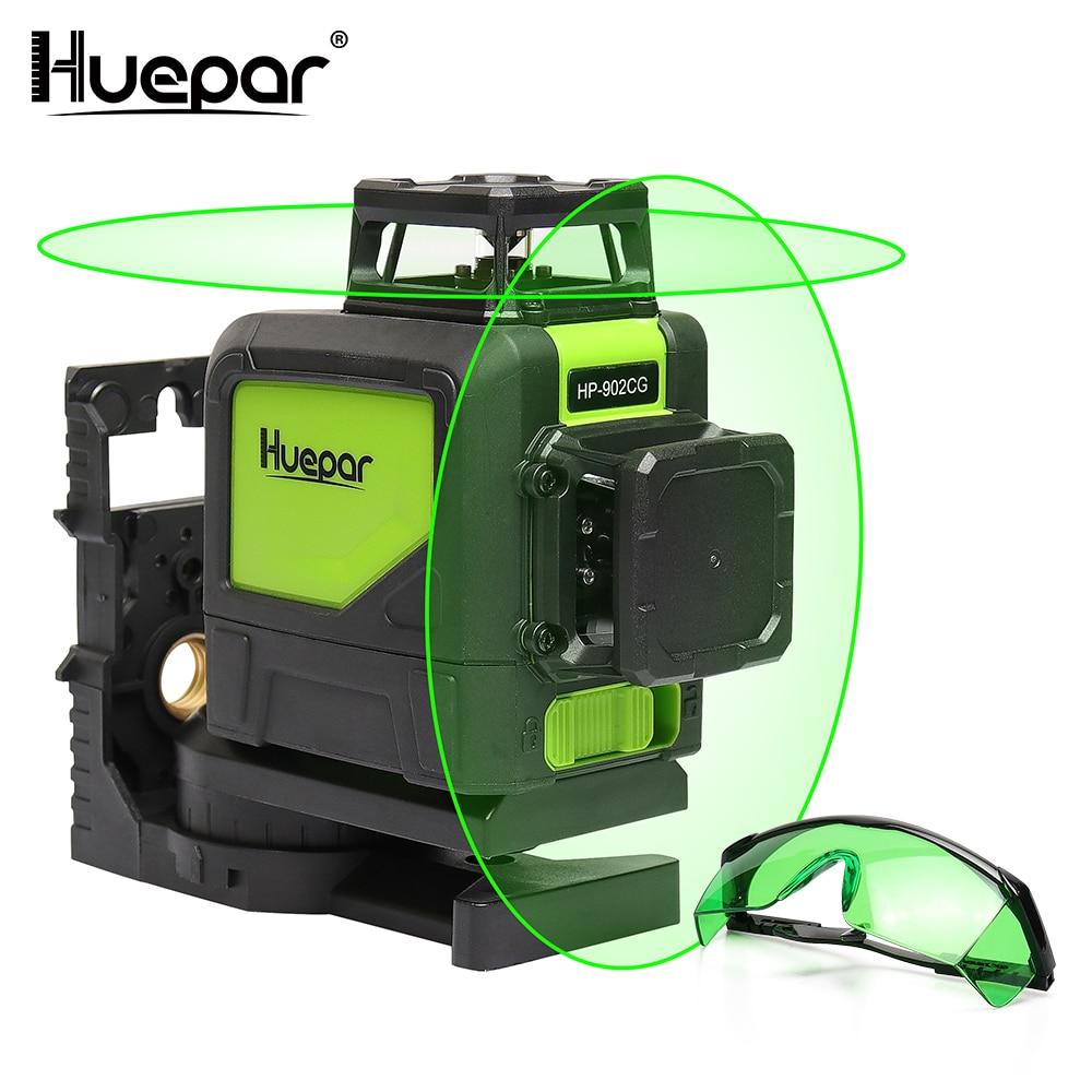 Huepar Auto-nivellement Professionnel Vert Faisceau Croix Ligne Laser 360-Degré avec Pulse Modes + Huepar Vert Laser amélioration Lunettes