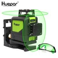 Huepar Self leveling Professional Green Beam Cross Line Laser 360 Degree with Pulse Modes+Huepar Green Laser Enhancement Glasses