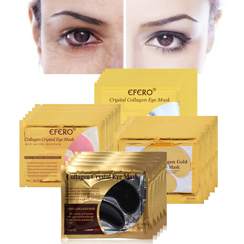 30pcs=15pair Gold Crystal Collagen Eye Mask Eyelid Eye Patches Under Eyes Mask 24K Golden Masks Dark Circles Removal Puffiness
