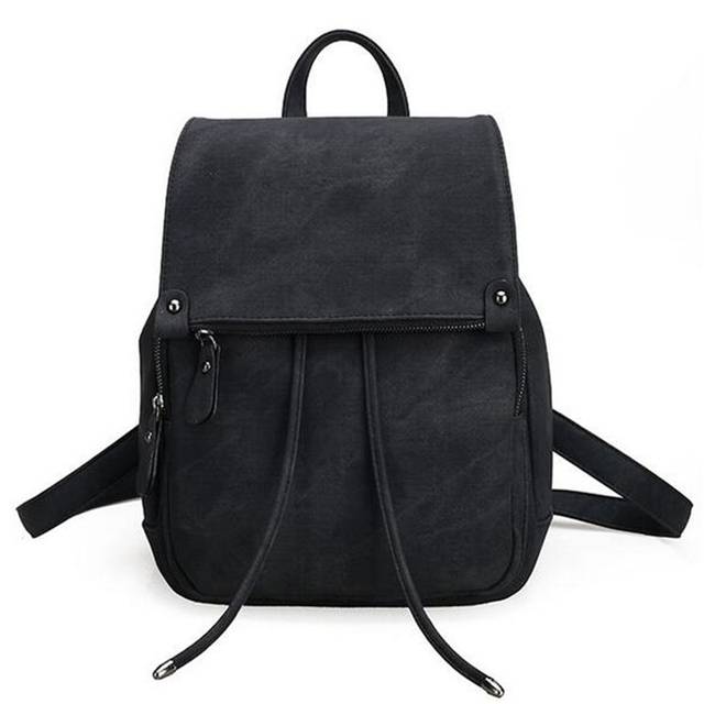 2017 New Women S Backpack Simple Style Black Bag Polyurethane Leather Canvas School Bags