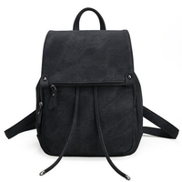 2017 NEW Women S Backpack Girl S Simple Style Black Backpack Bag Polyurethane Leather Canvas Backpack