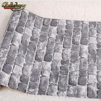 PVC Vinyl Tan Vintage Wall Paper Brick Embossed Textured Wall Wallpaper Roll 3D Modern Wallcovering Papel