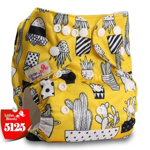 Littles& Bloomz детские моющиеся многоразовые подгузники из настоящей ткани с карманом для подгузников, чехлы для подгузников, костюмы для новорожденных и горшков, один размер, вставки для подгузников - Цвет: 5125