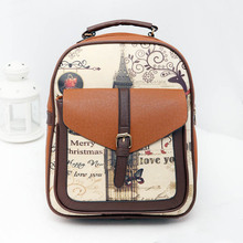 Female PU Leather Landscape Printing Backpack Women Preppy Style Fashion School Bag for Women Teen Girls Travel Rucksack Satchel preppy women s satchel with owl pattern and buckles design