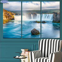 DIY Diamond Painting 3 Pieces Waterfall Blue River Pictures Scenery Multi Collages Handmade Gift Full Square Diamond Embroidery