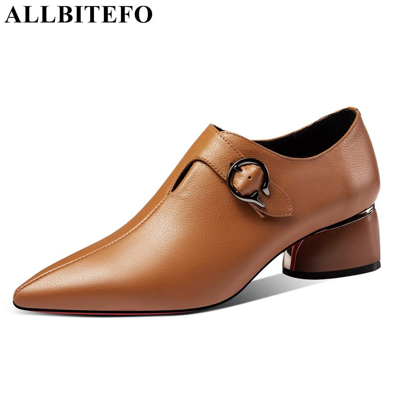 ALLBITEFO genuine leather women shoes high heels shoes pointed toe square heel metal decoration fashion zip spring ladies shoesALLBITEFO genuine leather women shoes high heels shoes pointed toe square heel metal decoration fashion zip spring ladies shoes