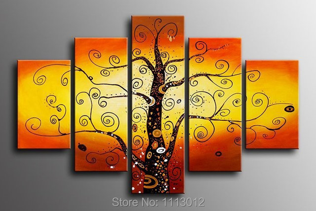 Red Yellow Tree Oil Painting On Canvas 5 pcs Flower Set Home ...
