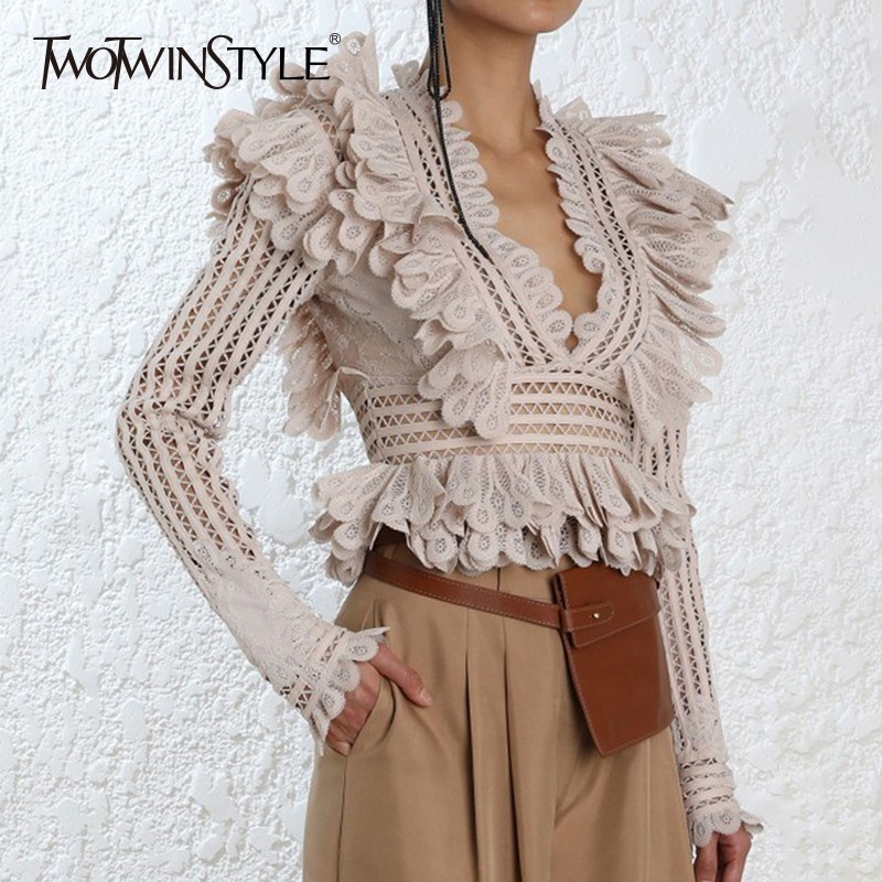TWOTWINSTYLE Lace Ruffle Shirt Blouse Female V Neck Long Sleeve Sexy Blouses Tops Female 2018 Autumn Fashion Clothes New