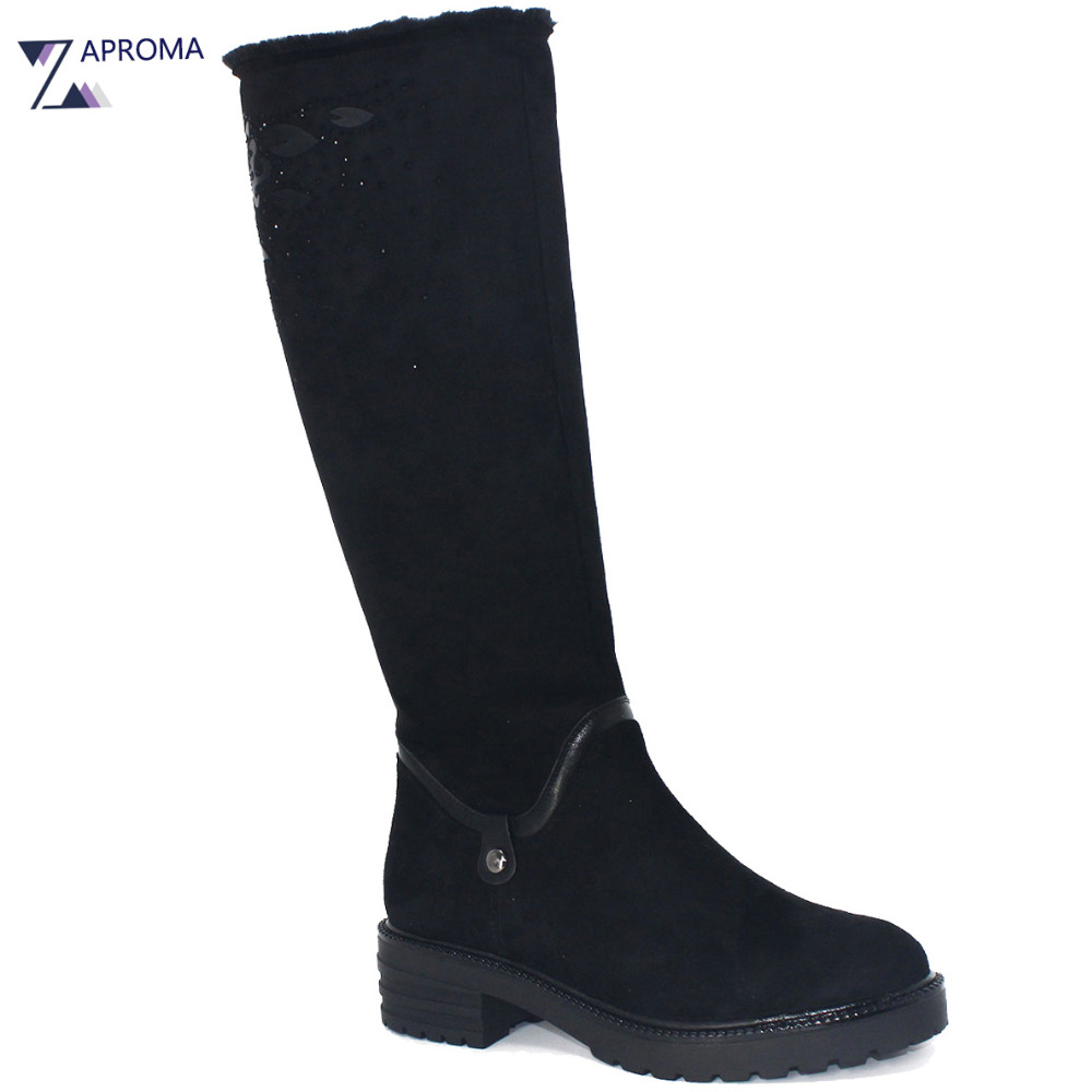 2017 Med Heel Plush Winter Knee High Boots Women Snow Fur Black Chunky Heel Bling Appliques Shoes Warm Flower Boots Tall Casual thigh high over the knee snow boots womens winter warm fur shoes women solid color casual waterproof non slip plush wedges botas