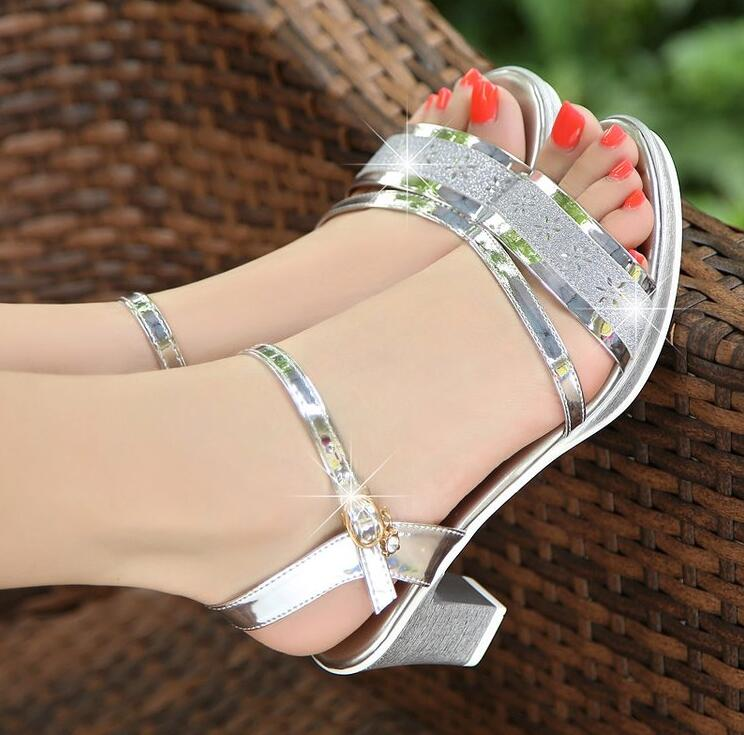 Woman Sandals 2018 Summer Elegant Women Concise Open Toe High heels Woman Fashion Thick Bottom Sandals Gold silver B294 woman sandals 2018 summer women concise bling open toe casual shoes woman fashion thick bottom wedges sandals