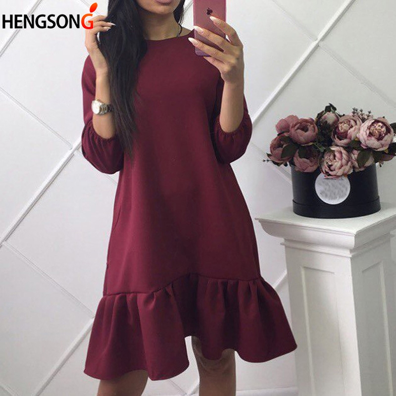 Fashion Mini Sexy Dresses Summer/Autumn women dress Casual Beach Party Chiffon Dress Ruffle Lantern Sleeve Sundress Female