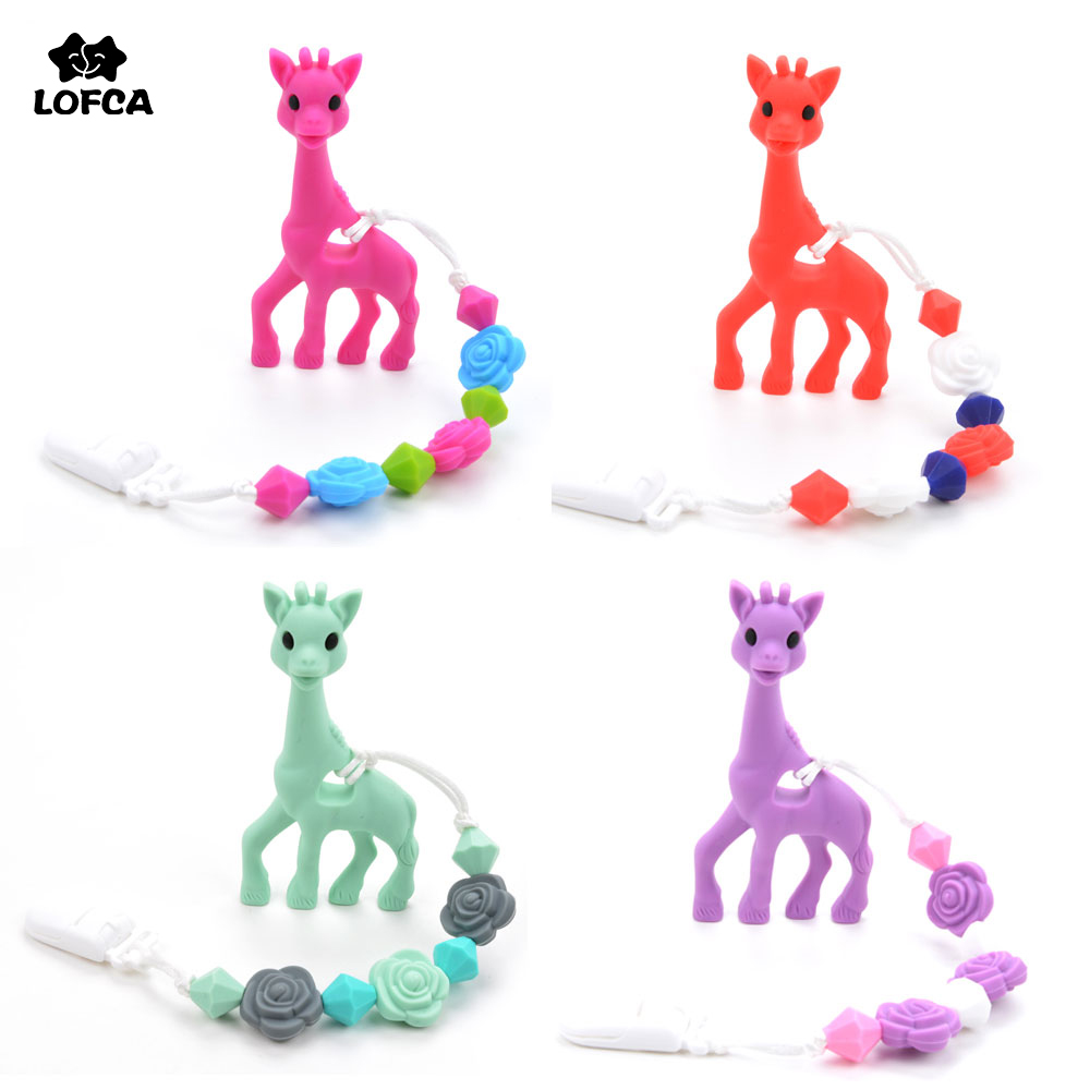 BPA Free Silicone Giraffe Teething Pacifier Clip Baby Carrier Teething Accessory Giraffe Teether Toy Chew Teething Pacifier Clip