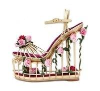 Для женщин ботильоны с открытым носком Пряжка необычный стиль сапоги Летние босоножки с вырезом летние модные цветочные вырезами обувь с р