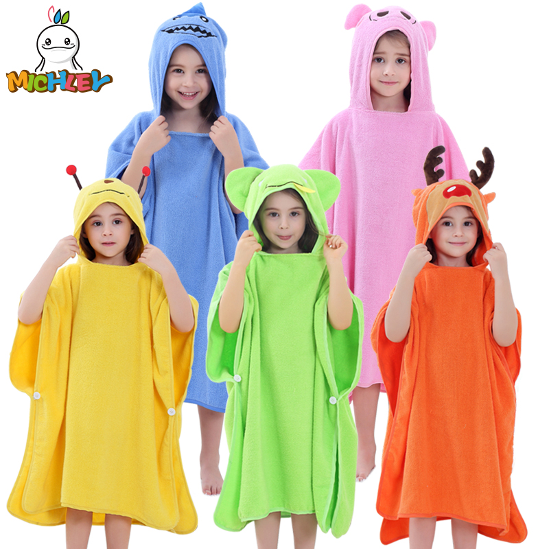 28f7526839 MICHLEY Children Towel 2018 Baby Girl 100% Cotton Bath Robe Boy Spring  Breathable Animal Hooded Clothes Kid Cartoon Bathrobe WEE-in Towels from  Mother ...