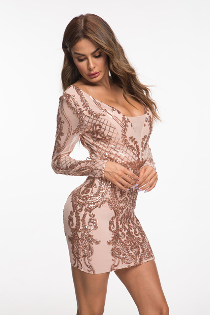 Evnora babe 2019 new style sequin long sleeve short dress party dress 8