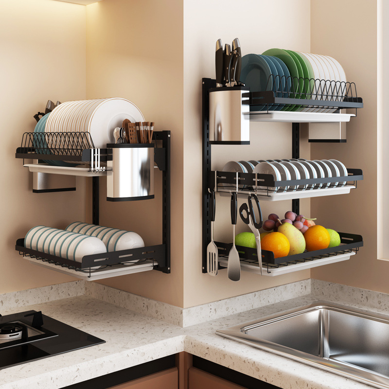 Black Stainless Steel Dish Rack Wall Hanging Bowl Plate Rack Drain Shelf Free-punching Kitchen Storage Organizer