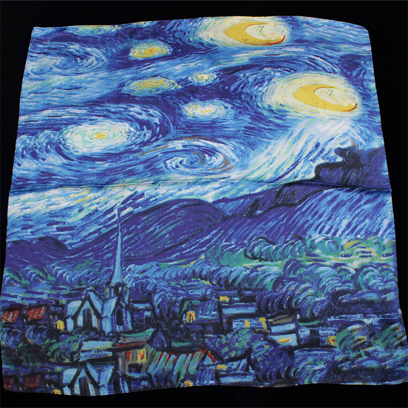 2019 New Arrival Twill silk   scarf   Women Van Gogh Starry Sky Oil Painting print shawls&  wraps   Female Foulard Kerchief 55cm*55cm