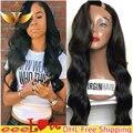 Não transformados 7A virgem u peruano peruca parte onda do corpo u parte humana perucas de cabelo com franja lateral esquerda lado upart perucas para as mulheres negras