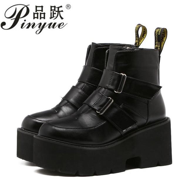 90a1fa0a69b 2018 Women s boots rivet side platform wedge high heels winter women Punk  motorcycle gothic shoes calf Martin boots