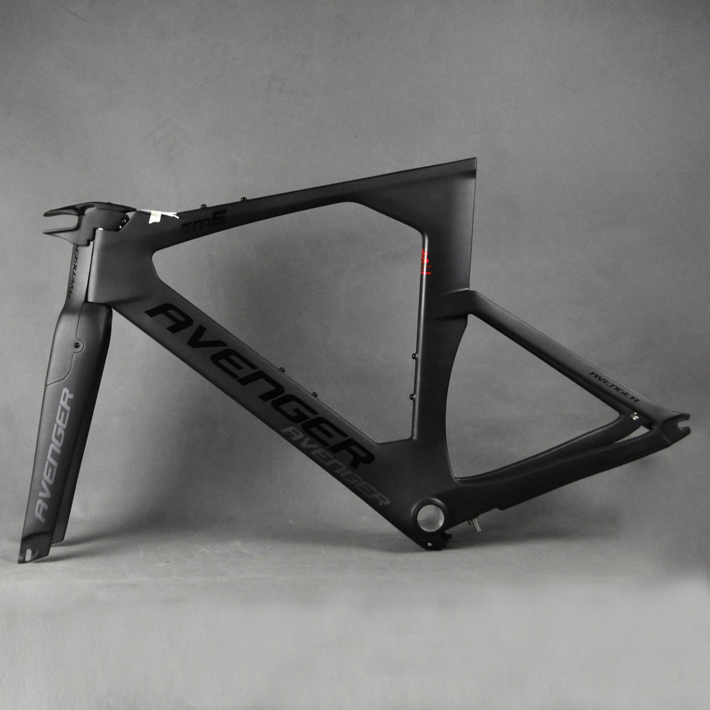 Full Carbon Fiber Road Bike Frame  Black  Avenger logo Time Trial Frame TT Bicycle Bike Frame Cycling FM109TM6 BB86 C-brake
