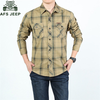 0210c798508 AFS JEEP Brand Casual Plaid Shirts Mens 2018 Fashion Long Sleeve 100%  Cotton Camiseta Masculina Military Shirt Men Plus Size 5XL