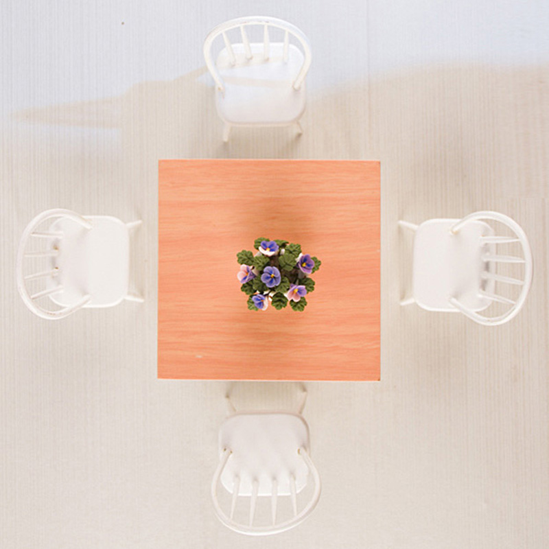 Doub K 1:12 dollhouse wooden furniture toy miniature white chair table sets girls children kids pretend play toys gifts dolls