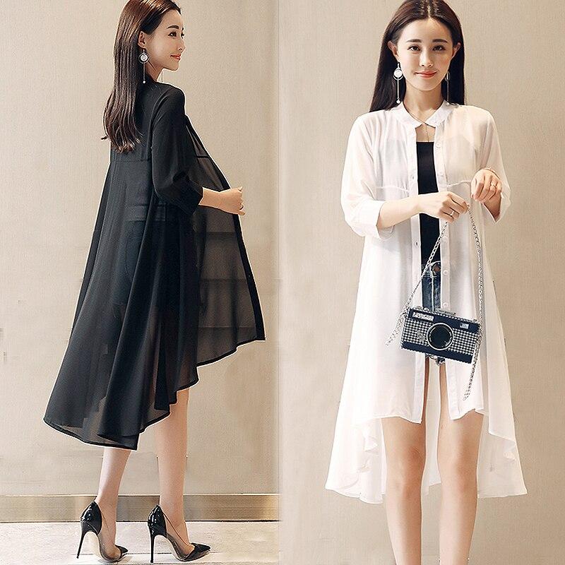2018 Summer Chiffon Blouse Women Stand Collar Loose Tops Blouses Plus Size Chiffon Kimono Cardigan boho Black White Shirts