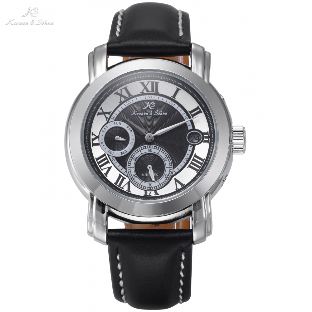 Roman Numerals KS Automatic Mechanical Watch Silver Date Day Small Second Analog Men's Leather Band Timepiece + Gift Box / KS276