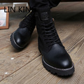 LINKING Lace Up Combat Martin Shoes Vintage Punk Gladiator Boots Brand Designer High Top Zipper Square Heel Men Motorcycle Boots