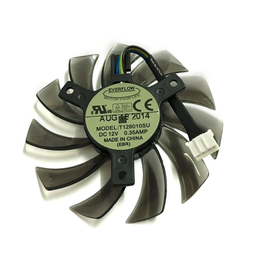 computer radiator T128010SU 75mm 4Wire 4Pin 0.35A Replacement Graphics Card <font><b>Fan</b></font> Cooler for <font><b>GTX760</b></font> 770 780 670 cooling image