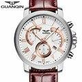 Бренд GUANQIN мужские военные кварцевые часы Спортивные Светящиеся Часы Хронограф кожаные Наручные часы Relogio Masculino relojes hombre