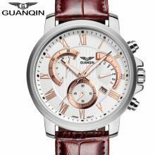 лучшая цена Top Brand GUANQIN Men Watch Relogio Masculino Military Sport Luminous watches Chronograph Leather Quartz Wristwatch