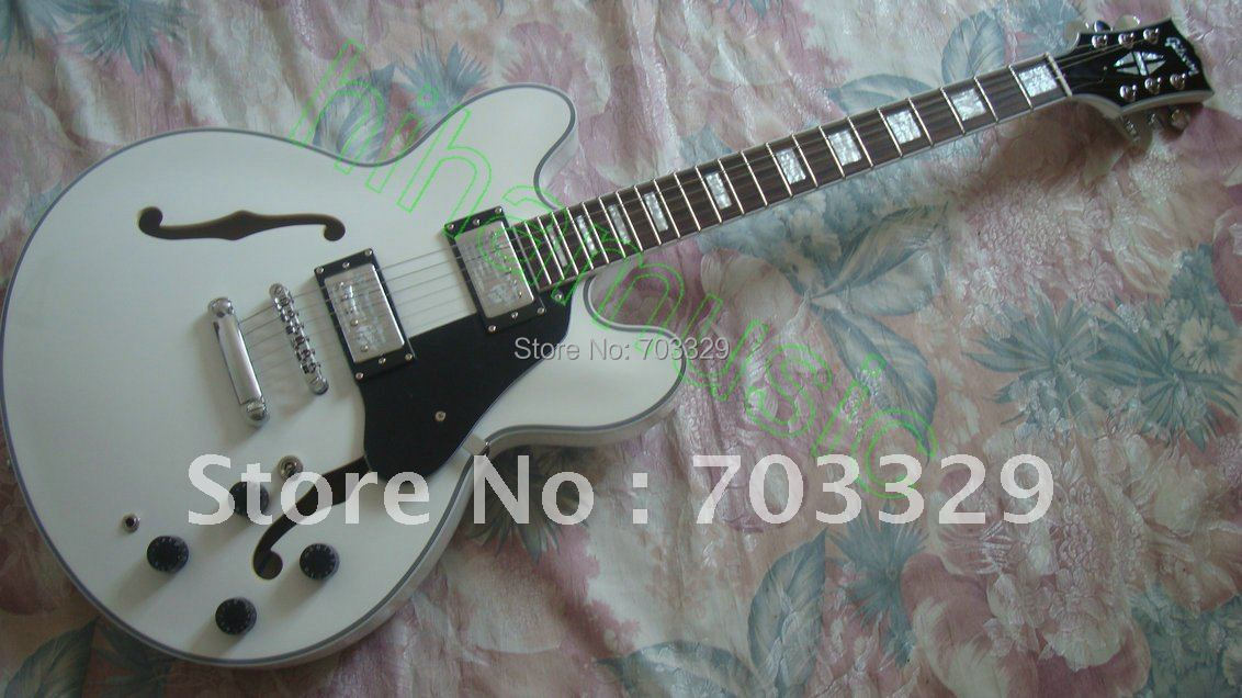 beautiful WHITE guitar ES335 electric JAZZ free shipping es175 semi hollow body high quality chorme hardware F hole humbucker PU top quality new semi hollow models telecaster single f hole wood color electric guitar 22