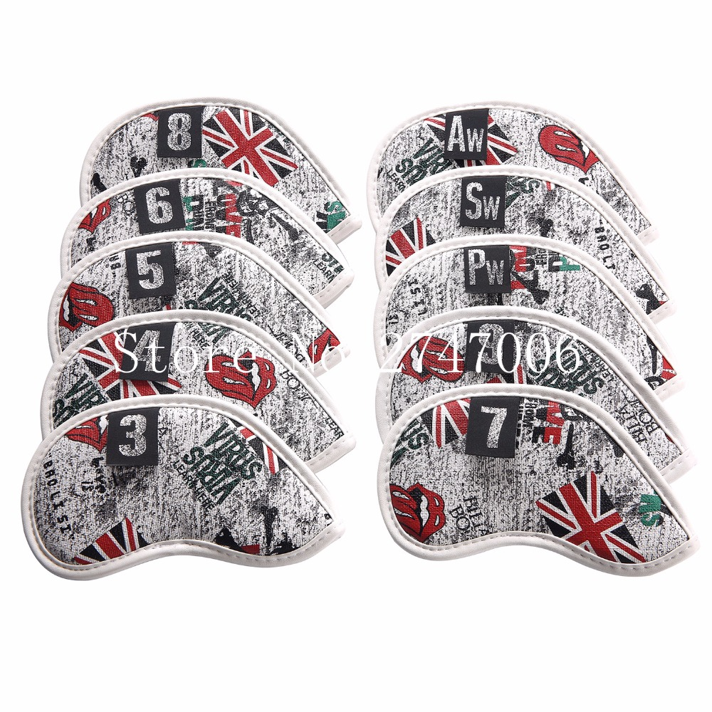 10PCS Golf Iron Headcover UK Flag Skull With Number Tags Thick PU Artificial Leather Stylish Iron Club Head Cover