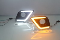 led drl daytime running light with yellow turn signals for toyota revo Hilux Vigo 2015 16, 2pcs, top quality