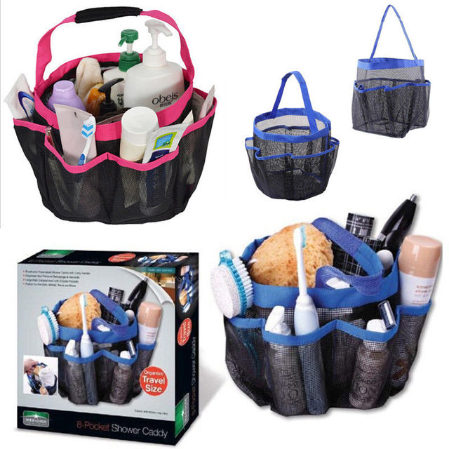 Hot Portable Bath Bags Quick Dry Storage Hanging Mesh Bathroom Bag Shower Tote Caddy Cosmetics Organizer With 8 Pockets