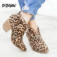 8103a1701 Outono Inverno Moda Leopardo Tornozelo Botas Mulheres Praça Martin Sapatos  de Salto Alto Do Dedo Do