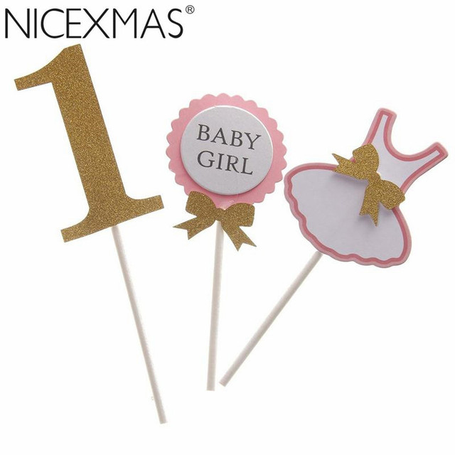 Aliexpresscom Buy Cute First Birthday Cupcake Toppers 1st Girl