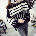 Kesebi 2016 Autumn Winter Women O-neck Striped Knit Long Sleeve Loose Oversize Sweaters Female Flare Sleeve Casual Pullovers